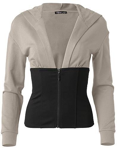 Plus Size Two Tone Zip Front Sweatshirt