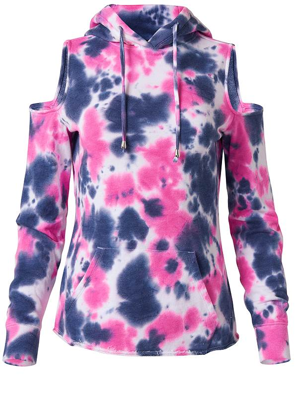 Ghost with background  view Tie Dye Cold Shoulder Sweatshirt