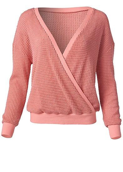 Plus Size Waffle Knit Surplice Lounge Top