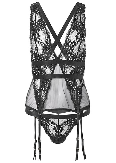 Plus Size Lace And Mesh Sexy Set