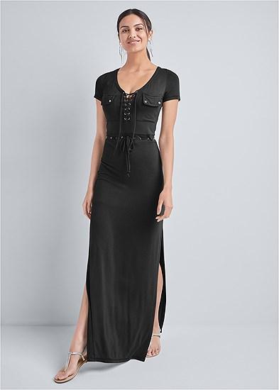 utility lace up maxi dress
