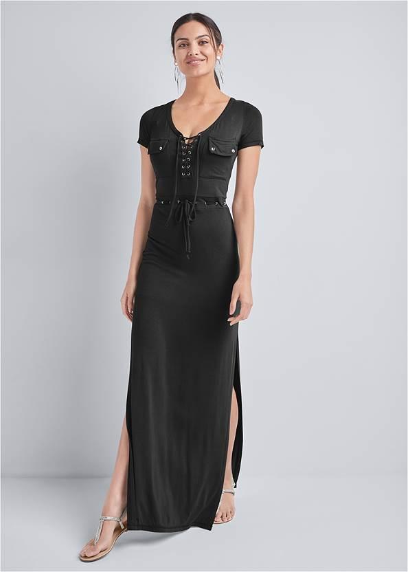 Utility Lace Up Maxi Dress,Pearl By Venus® Perfect Coverage Bra,Double Strap Printed Sandal,Tassel Hoop Earrings,Leopard Fringe Crossbody