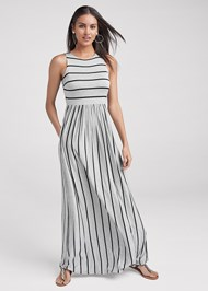 Front View Stripe Maxi Dress