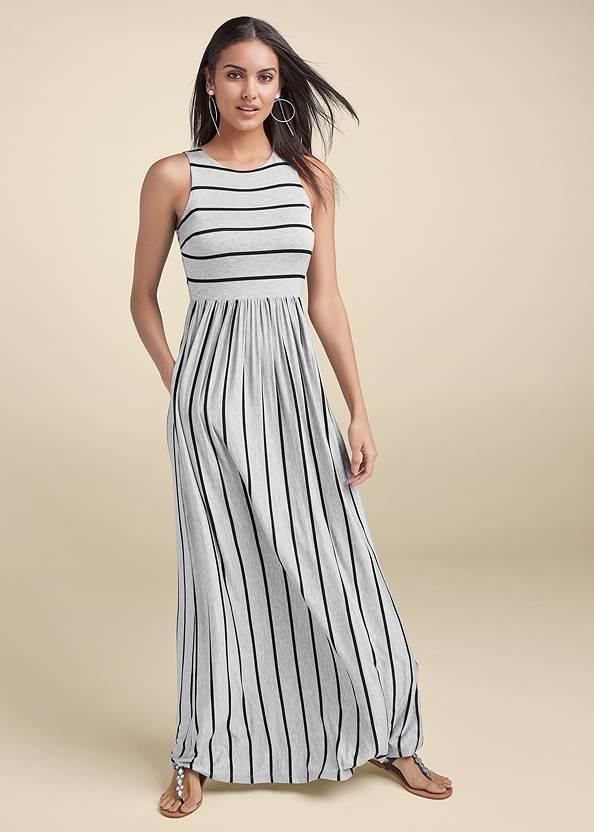 Casual Maxi Dress,Hoop Detail Earrings