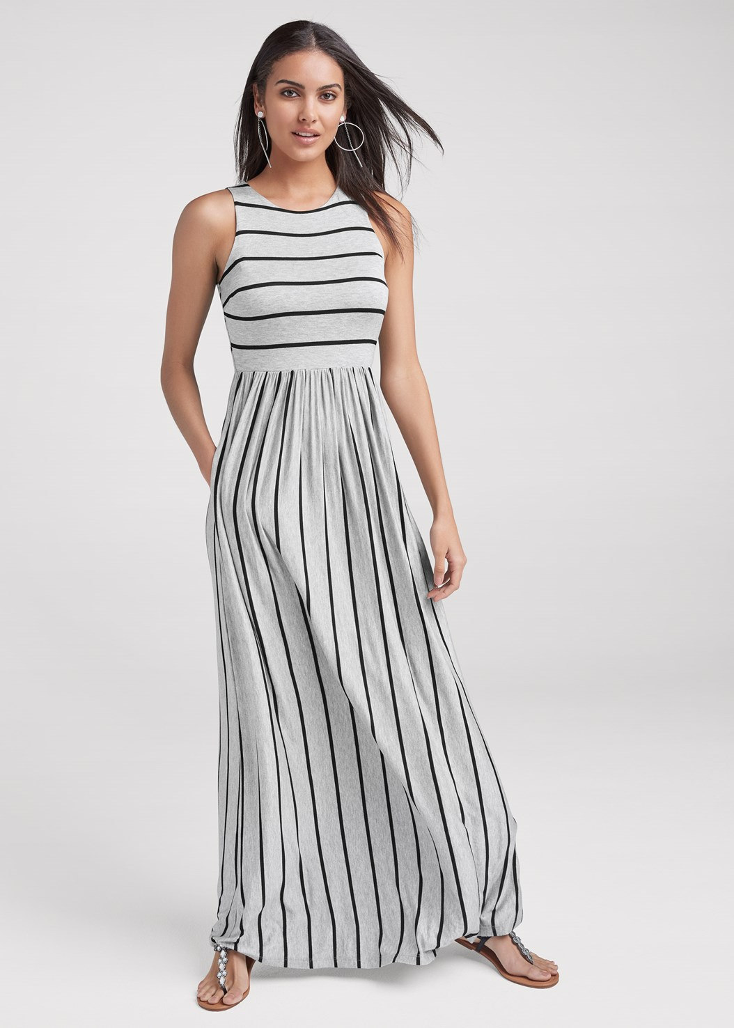 Stripe Maxi Dress,Hoop Detail Earrings