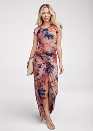 Front View Ruched Tie Dye Maxi Dress