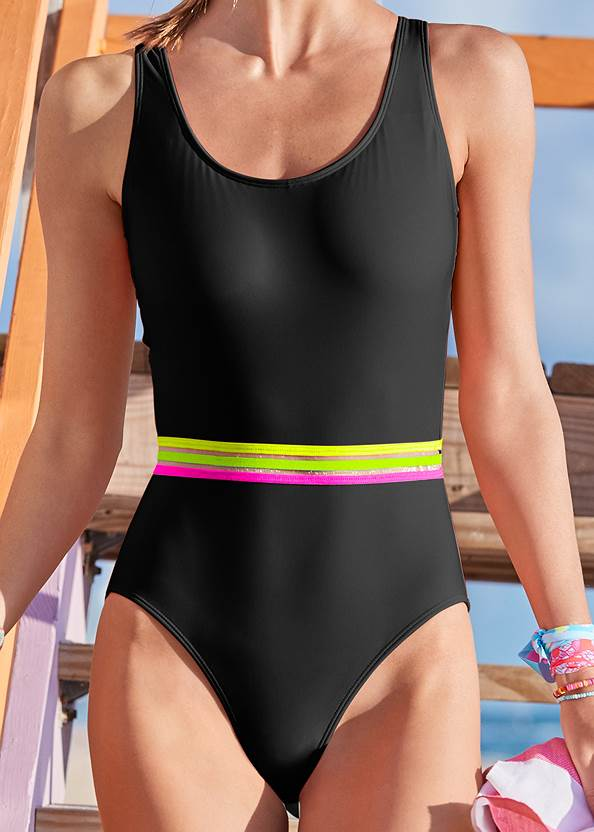 Detail front view Neon Banded One-Piece