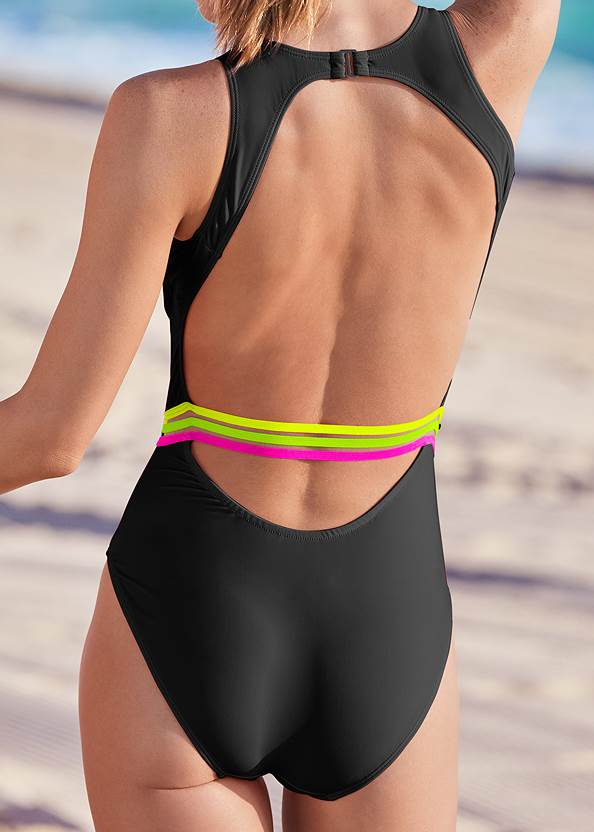 Detail back view Neon Banded One-Piece