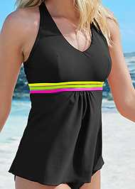 Detail front view Neon Banded Tankini Top