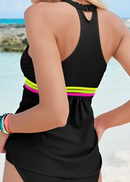 Detail back view Neon Banded Tankini Top