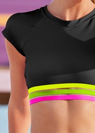 Detail front view Neon Banded Rash Guard Top
