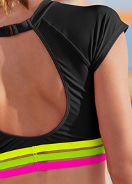 Detail back view Neon Banded Rash Guard Top