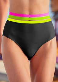 Detail front view Neon Banded High Waist
