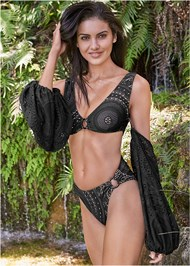 Front View Sports Illustrated Swim™ Detachable Sleeve One-Piece