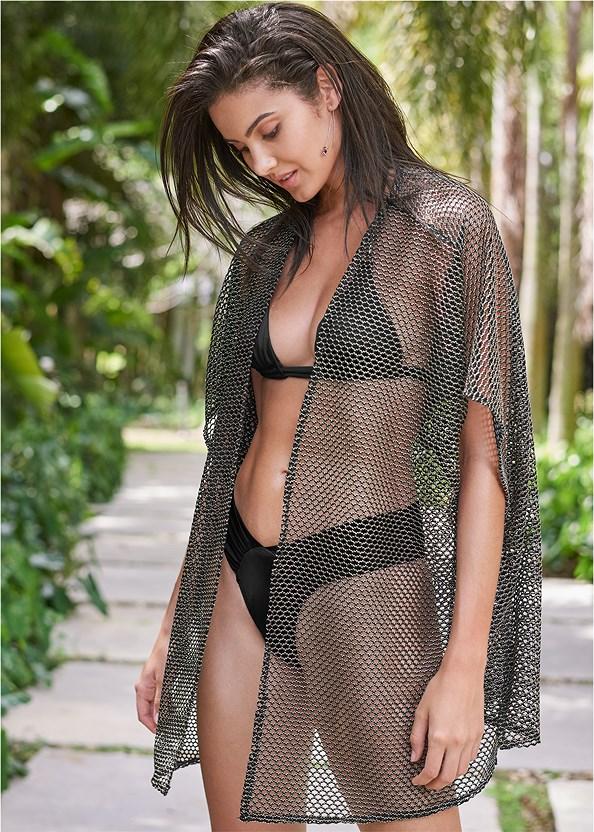 Sports Illustrated Swim™ Beach Kimono Cover-Up,Sports Illustrated Swim™ Double Strap Triangle Top,Sports Illustrated Swim™ High Leg Ruched Bottom