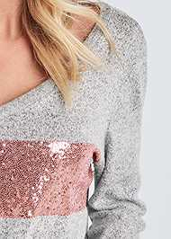 Alternate View Cozy Sequin Stripe Lounge Top