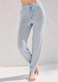 Waist down front view Striped Sleep Jogger