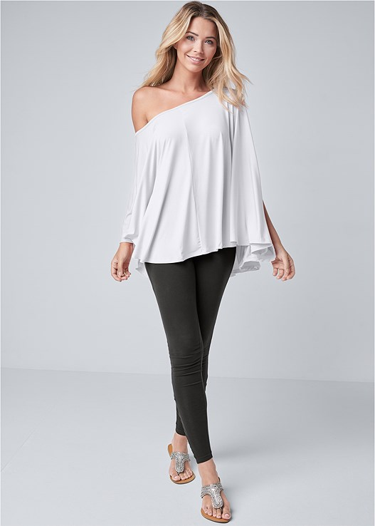 ANKLE DETAIL LEGGINGS,ASYMMETRICAL TOP,RHINESTONE FLATS