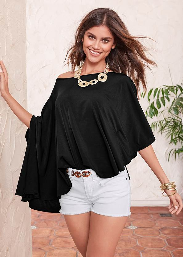 Asymmetrical Top,Frayed Cut Off Jean Shorts,Ankle Detail Leggings,Mid Rise Color Skinny Jeans,Faux Suede Layer Necklace