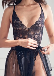 Alternate View Lace Bodysuit And Skirt Set
