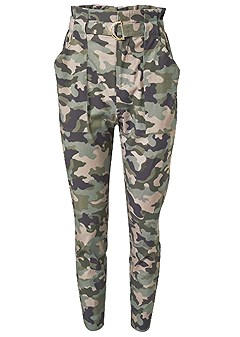 belted camo print paperbag pants