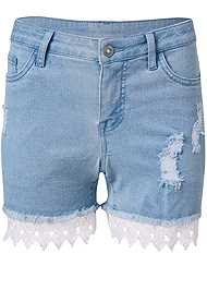 Alternate View Lace Trim Jean Shorts