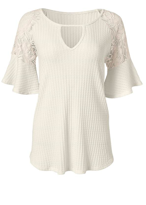 Alternate View Waffle Knit Lace Top