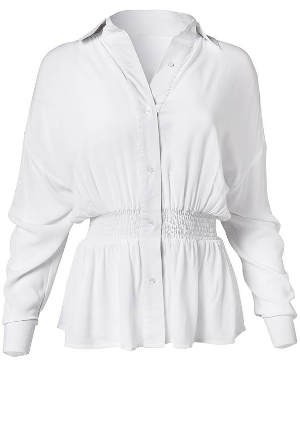 Alternate View Smocked Button Front Casual Blouse