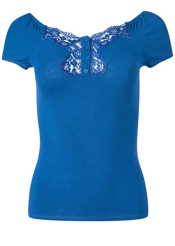 Alternate View Ribbed Lace Top