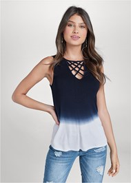 Cropped front view Ombre Strappy Top