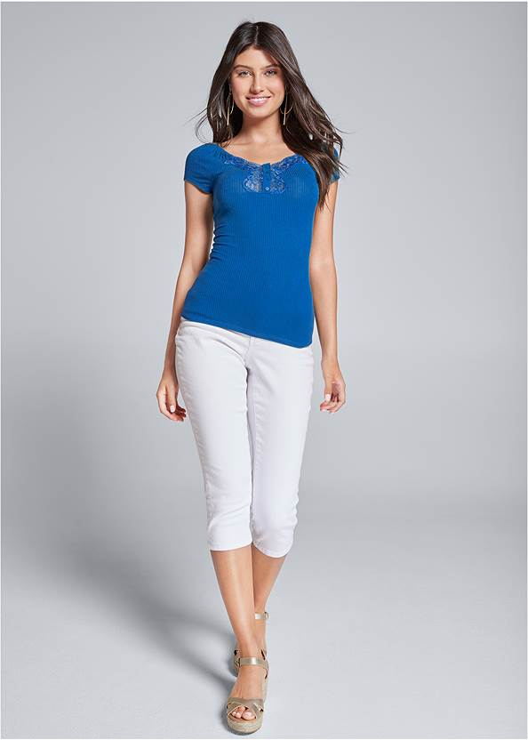 Full front view Ribbed Lace Top