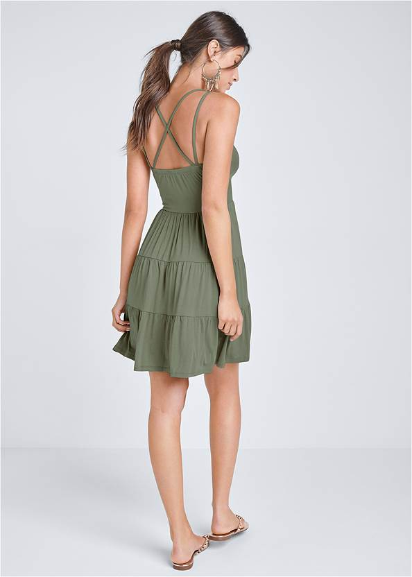 Full back view Tiered Strappy Mini Dress