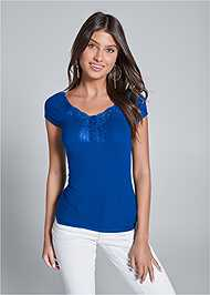 Front View Ribbed Lace Top