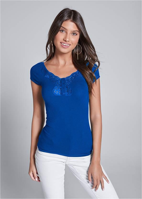 Ribbed Lace Top,Color Capri Jeans