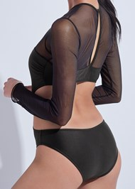 Detail back view Sports Illustrated Swim™ Mesh Long Sleeve One-Piece