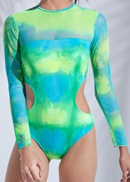 Detail front view Sports Illustrated Swim™ Mesh Long Sleeve One-Piece
