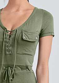 Detail front view Utility Lace Up Maxi Dress