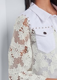 Detail front view Denim Lace Sleeve Jacket