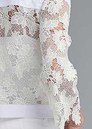 Detail back view Denim Lace Sleeve Jacket