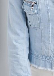 Detail front view Cropped Denim Moto Jacket