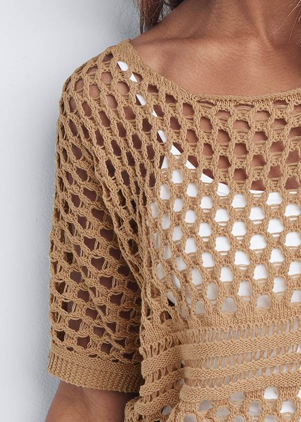 Detail front view Open Knit Sweater