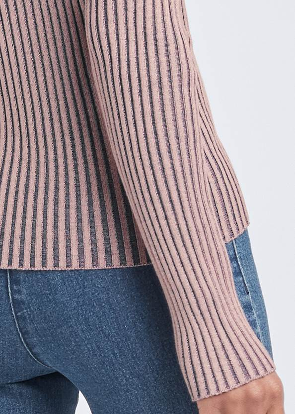 Detail back view Color Block Ribbed Sweater