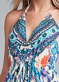 Detail front view Low Back Printed Maxi Dress
