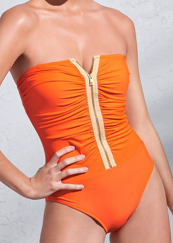 Detail front view Sports Illustrated Swim™ Ruched Zipper Bandeau One-Piece