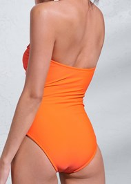 Detail back view Sports Illustrated Swim™ Ruched Zipper Bandeau One-Piece