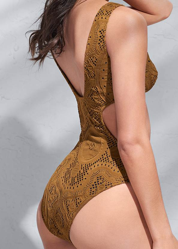 Detail back view Sports Illustrated Swim™ Detachable Sleeve One-Piece