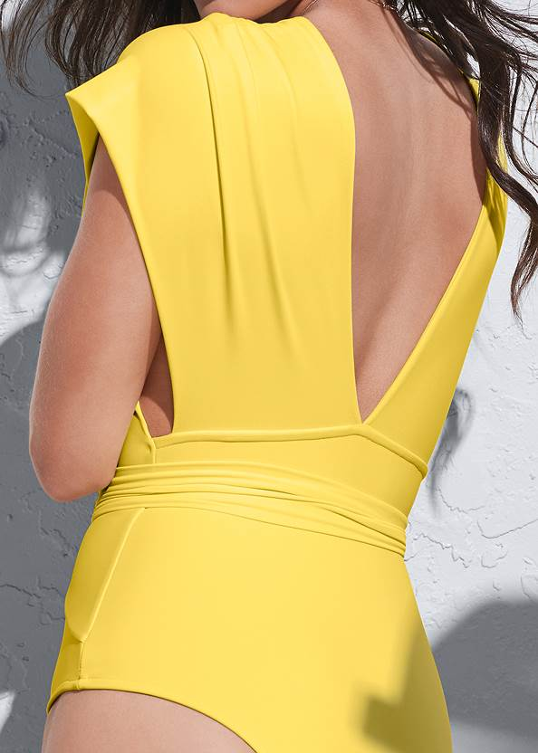 Detail back view Sports Illustrated Swim™ Open Side Faux Sleeve One-Piece