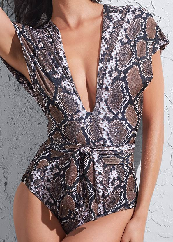 Detail front view Sports Illustrated Swim™ Open Side Faux Sleeve One-Piece