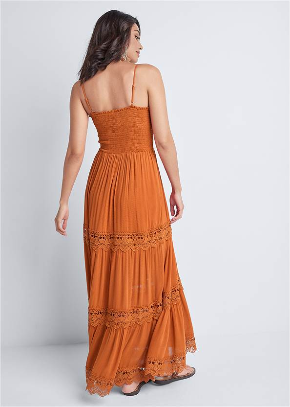 Back View Tiered Smock Maxi Dress