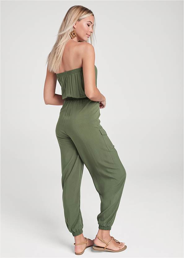 Full back view Strapless Utility Jumpsuit